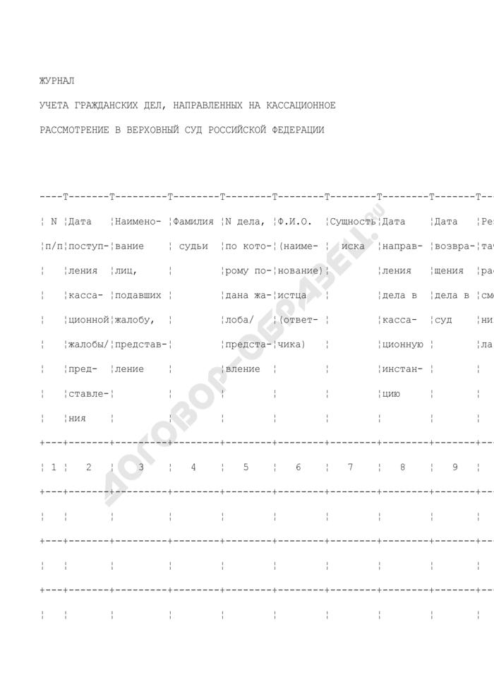Журнал учета гражданских дел, направленных на кассационное рассмотрение в верховный суд Российской Федерации. Форма N 27. Страница 1
