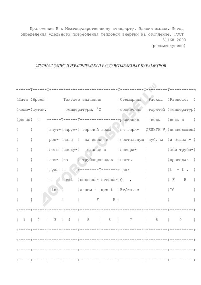 Журнал записи измеряемых и рассчитываемых параметров внутренних размеров помещений и поверхности наружных ограждающих конструкций (рекомендуемая форма). Страница 1