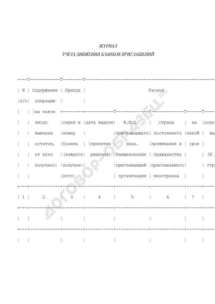 Журнал учета движения бланков приглашений на въезд в Российскую Федерацию иностранных граждан и лиц без гражданства. Страница 1