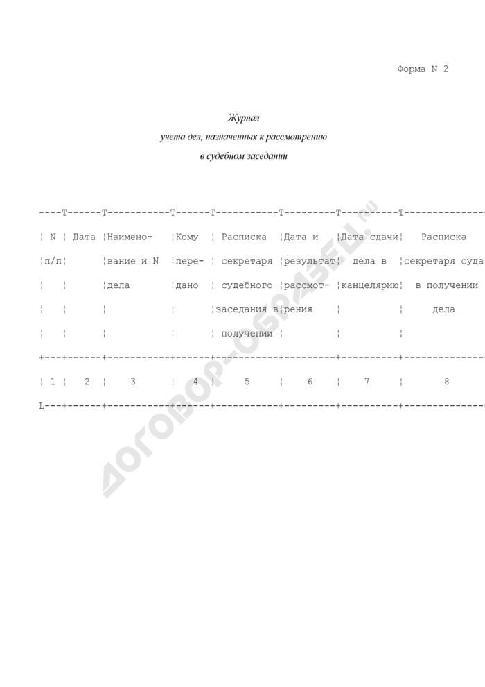 Журнал учета дел, назначенных к рассмотрению в судебном заседании. Форма N 2. Страница 1