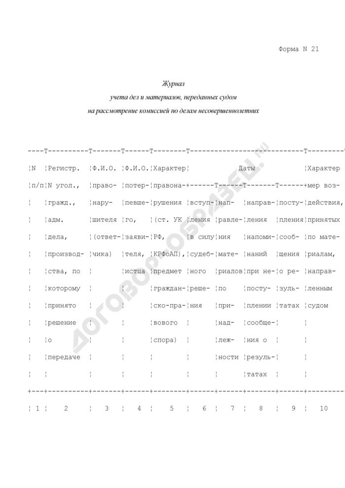 Журнал учета дел и материалов, переданных судом на рассмотрение комиссией по делам несовершеннолетних. Форма N 21. Страница 1