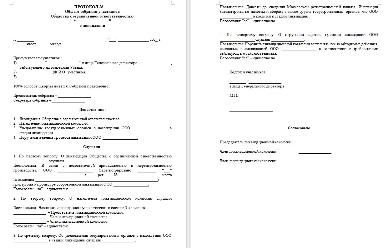 пример протокола на ликвидацию ооо этот выглядел