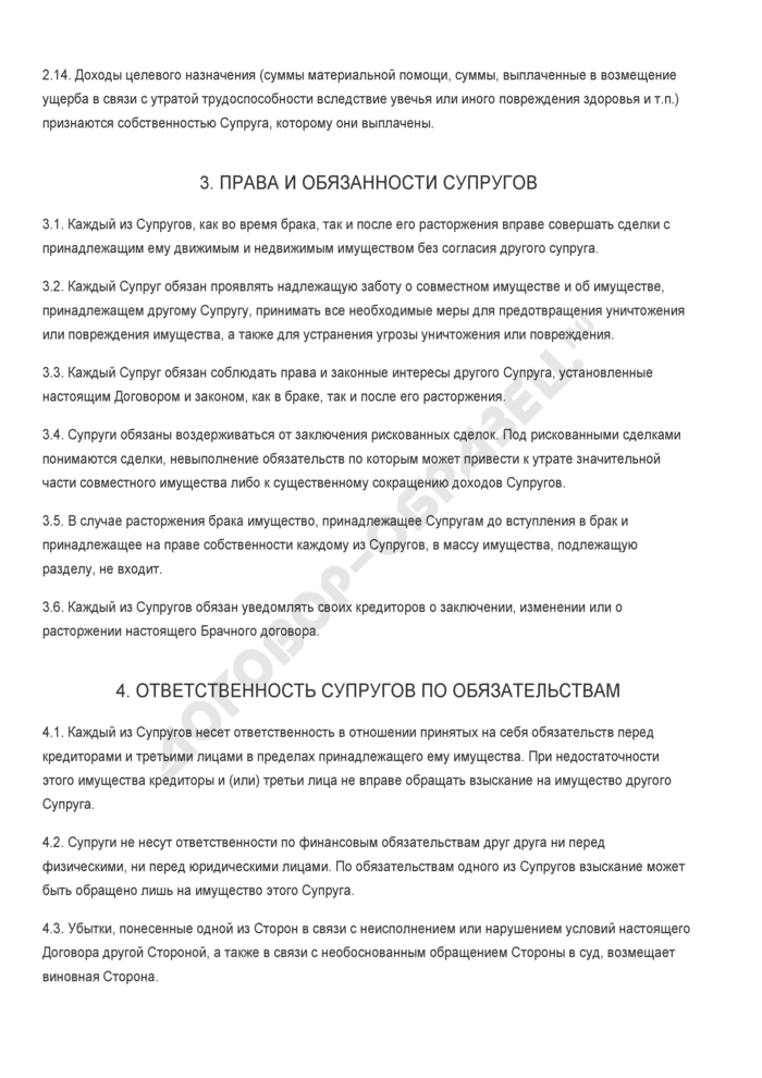 Заполненный образец брачного контракта при вступлении в брак. Страница 3