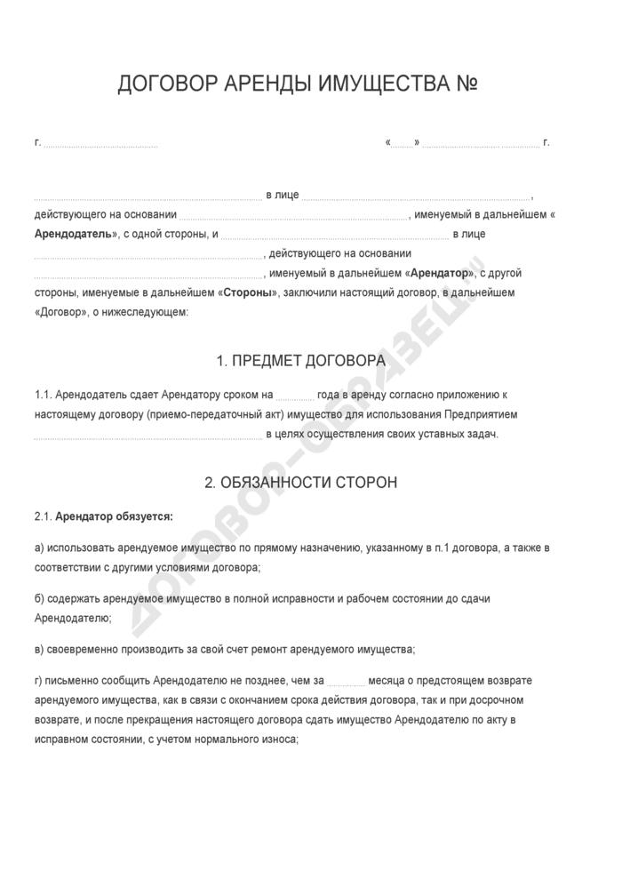 Бланк договора аренды имущества. Страница 1