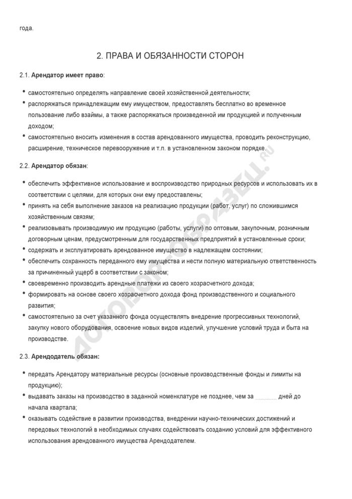 Бланк договора аренды подразделения предприятия (без права выкупа). Страница 2