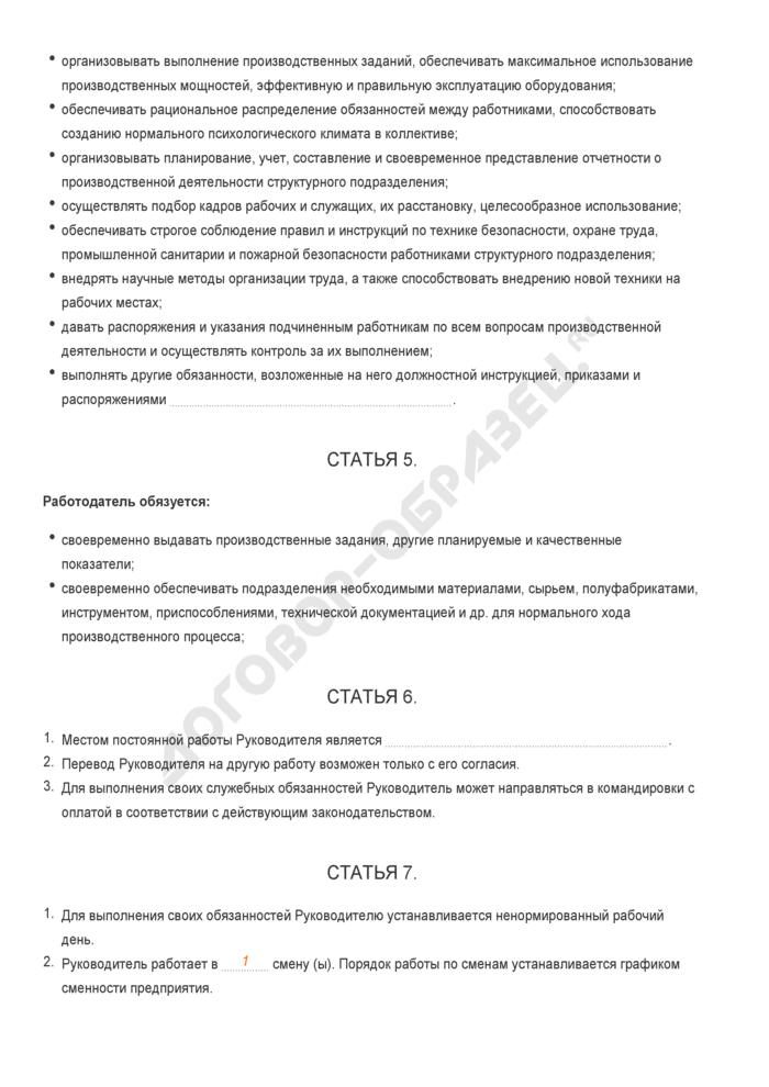 Заполненный образец трудового контракта с руководителем структурного подразделения. Страница 2