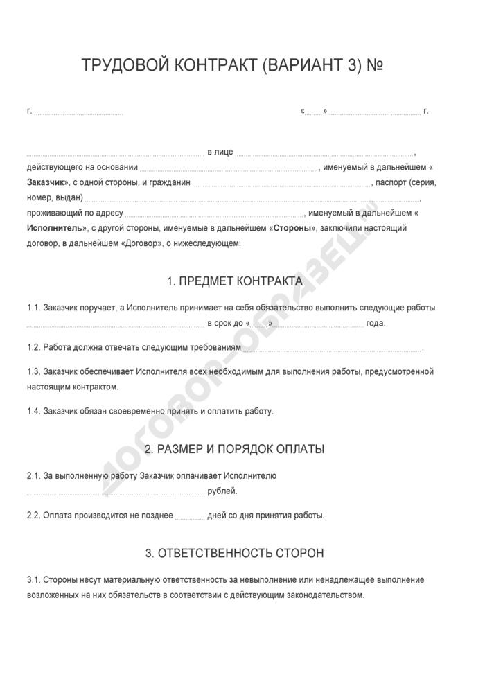 Бланк трудового контракта (вариант 3). Страница 1