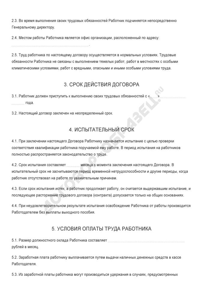 Бланк трудового договора с главным бухгалтером. Страница 2