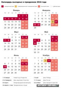 Календарь 2016 с праздниками (краткая версия)