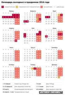 Календарь 2016 с праздниками (полная версия)