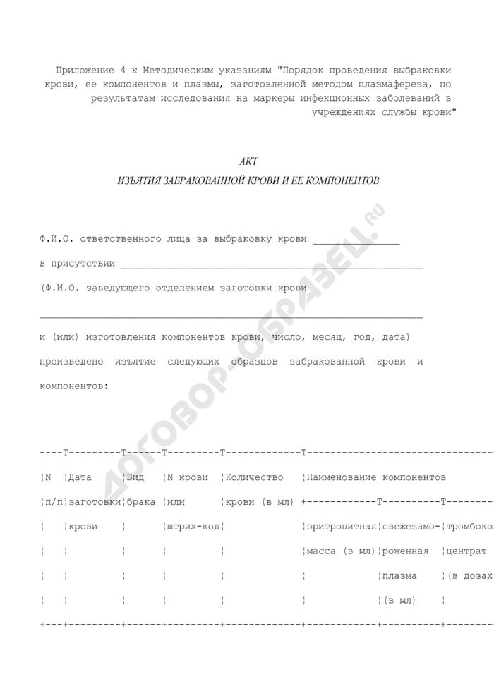 Акт изъятия забракованной крови и ее компонентов в г. Москве. Страница 1