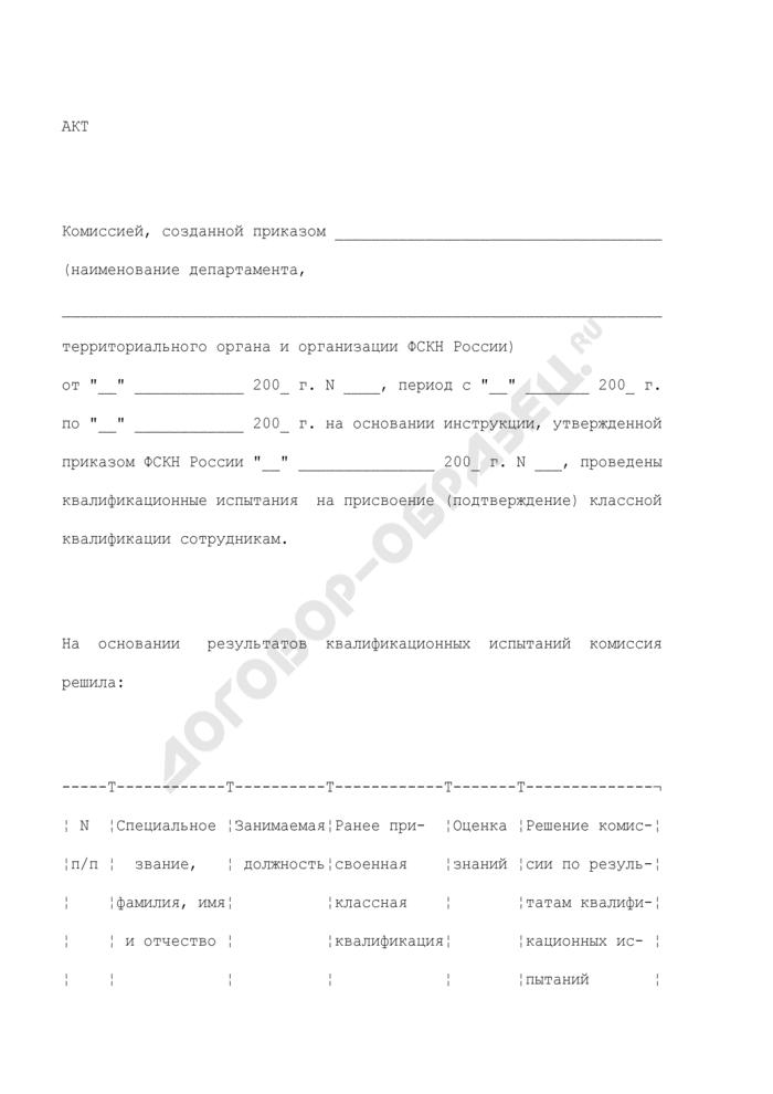 Акт результатов квалификационных испытаний сотрудника органов по контролю за оборотом наркотических средств и психотропных веществ на присвоение (подтверждение) классной квалификации. Страница 1