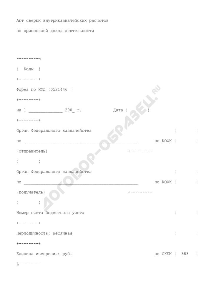 Акт сверки внутриказначейских расчетов по приносящей доход деятельности. Страница 1