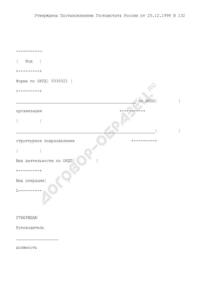 Акт на отпуск питания сотрудникам организации. Унифицированная форма N ОП-21. Страница 1