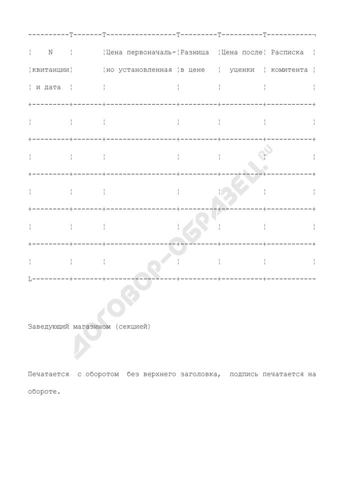 Акт на уценку комиссионных товаров. Специализированная форма N 97. Страница 2