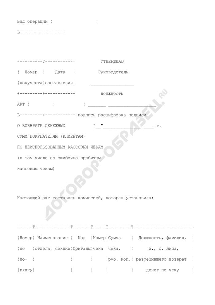 Акт о возврате денежных сумм покупателям (клиентам) по неиспользованным кассовым чекам (в том числе по ошибочно пробитым кассовым чекам). Унифицированная форма N КМ-3. Страница 2