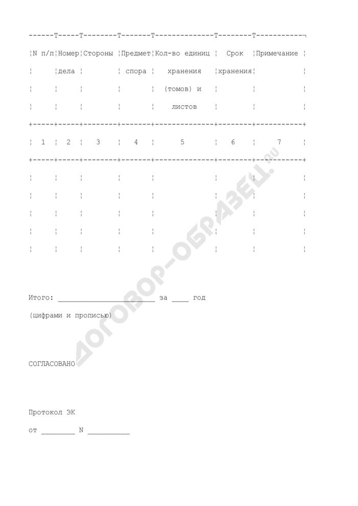 Акт о выделении к уничтожению находящихся в архиве судебных дел с истекшими сроками хранения в арбитражном Суде Российской Федерации (первой, апелляционной и кассационной инстанциях). Страница 2