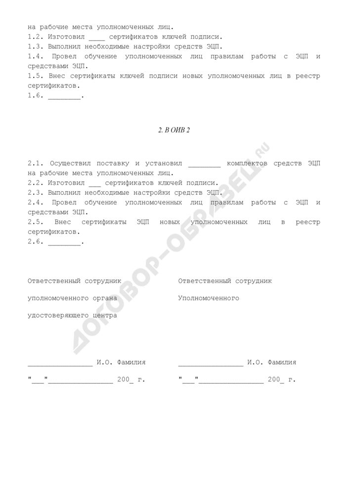 Акт о выполнении работ по поставке и установке комплектов средств электронной цифровой подписи на рабочие места уполномоченных лиц. Страница 2