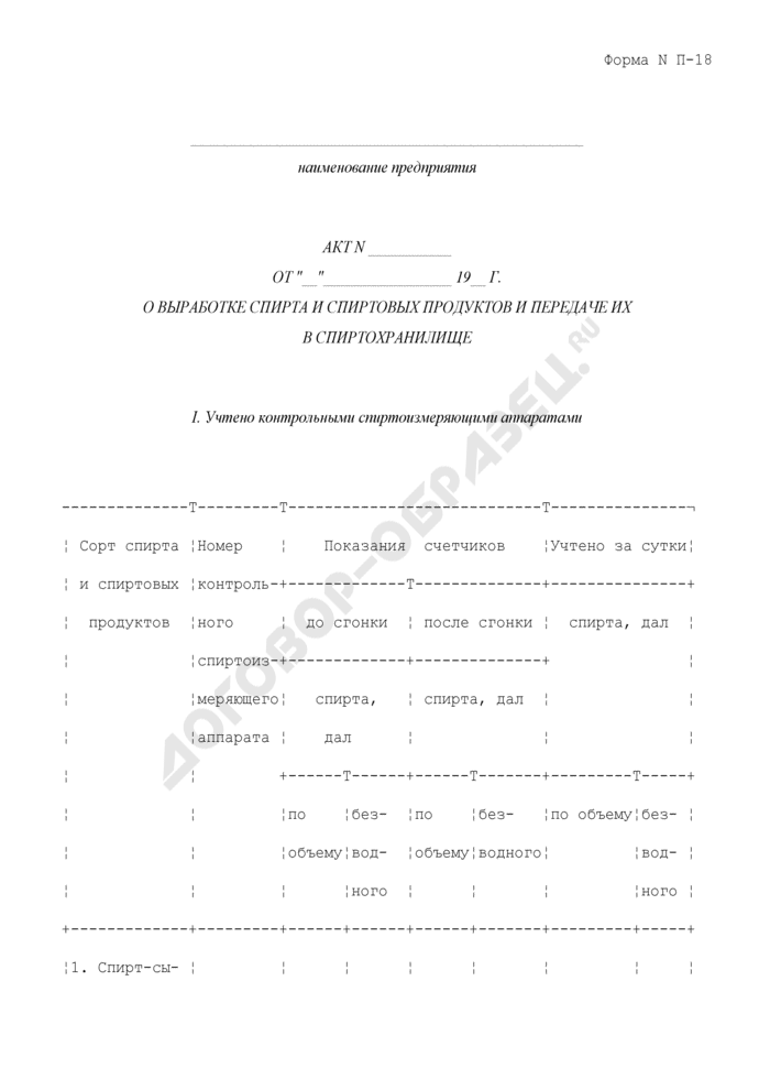 Акт о выработке спирта и спиртовых продуктов и передаче их в спиртохранилище. Форма N П-18. Страница 1