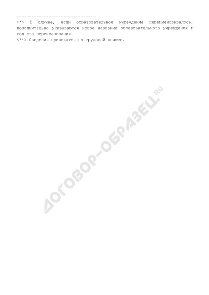 Анкета кандидатуры на должность ректора образовательного учреждения Минздравсоцразвития России. Страница 3