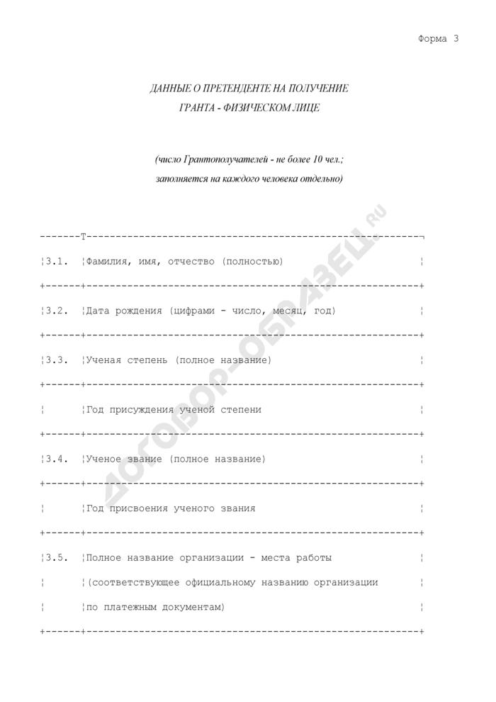 Данные о претенденте на получение Московского областного гранта - физическом лице. Форма N 3. Страница 1