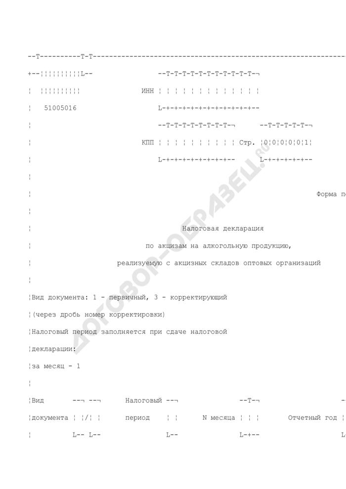 Налоговая декларация по акцизам на алкогольную продукцию, реализуемую с акцизных складов оптовых организаций. Форма N 1151005. Страница 1