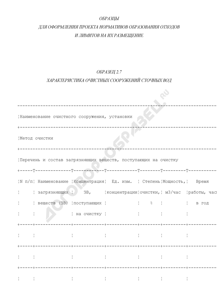 Характеристика очистных сооружений сточных вод (образец). Страница 1