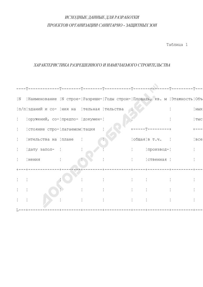 Исходные данные для разработки проектов организации санитарно-защитных зон. Характеристика разрешенного и намечаемого строительства (таблица 1). Страница 1