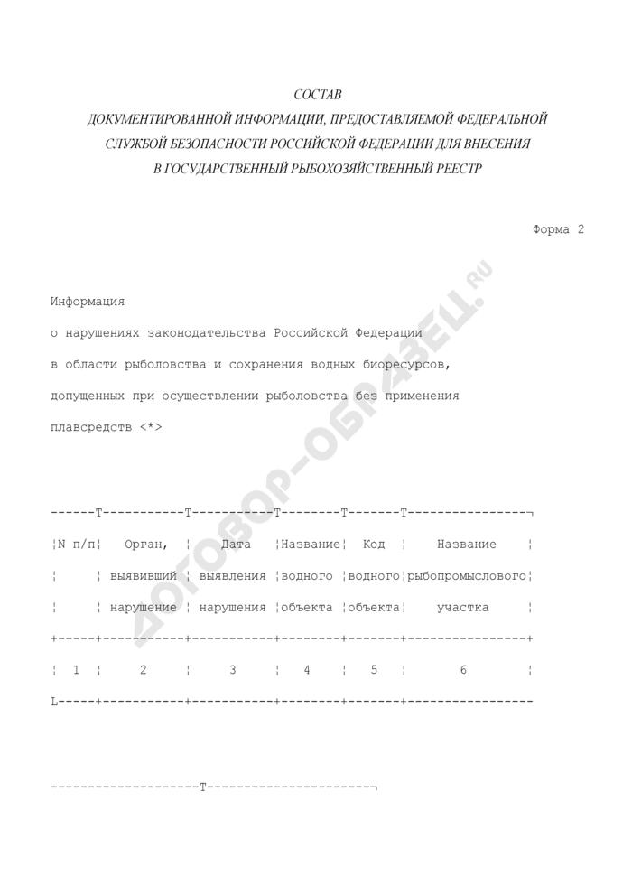 Информация о нарушениях законодательства Российской Федерации в области рыболовства и сохранения водных биоресурсов, допущенных при осуществлении рыболовства без применения плавсредств. Форма N 2. Страница 1