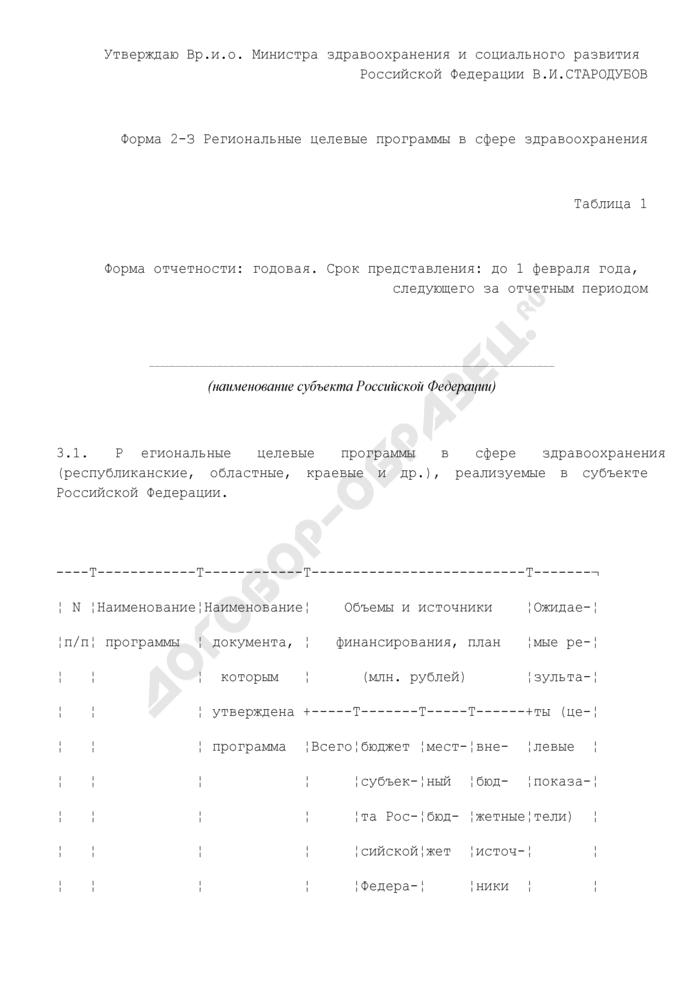Информация о региональных целевых программах в сфере здравоохранения, реализуемых в субъекте Российской Федерации. Форма N 2-З. Страница 1