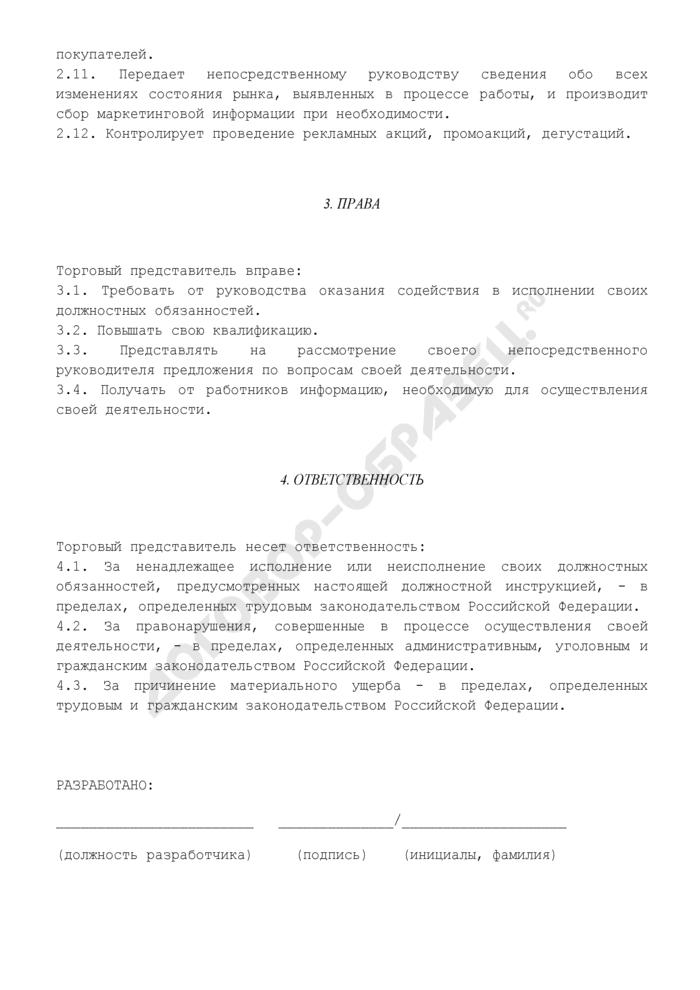 Должностная инструкция торгового представителя. Страница 3