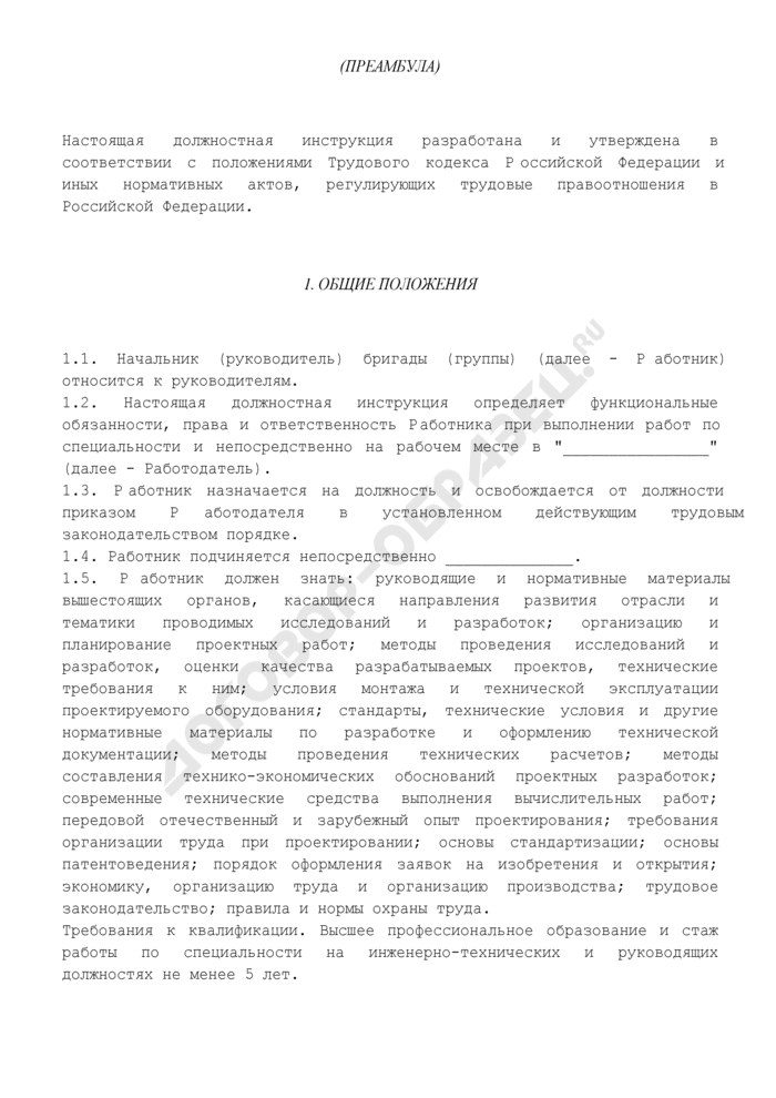 Должностная инструкция начальника (руководителя) бригады (группы). Страница 2
