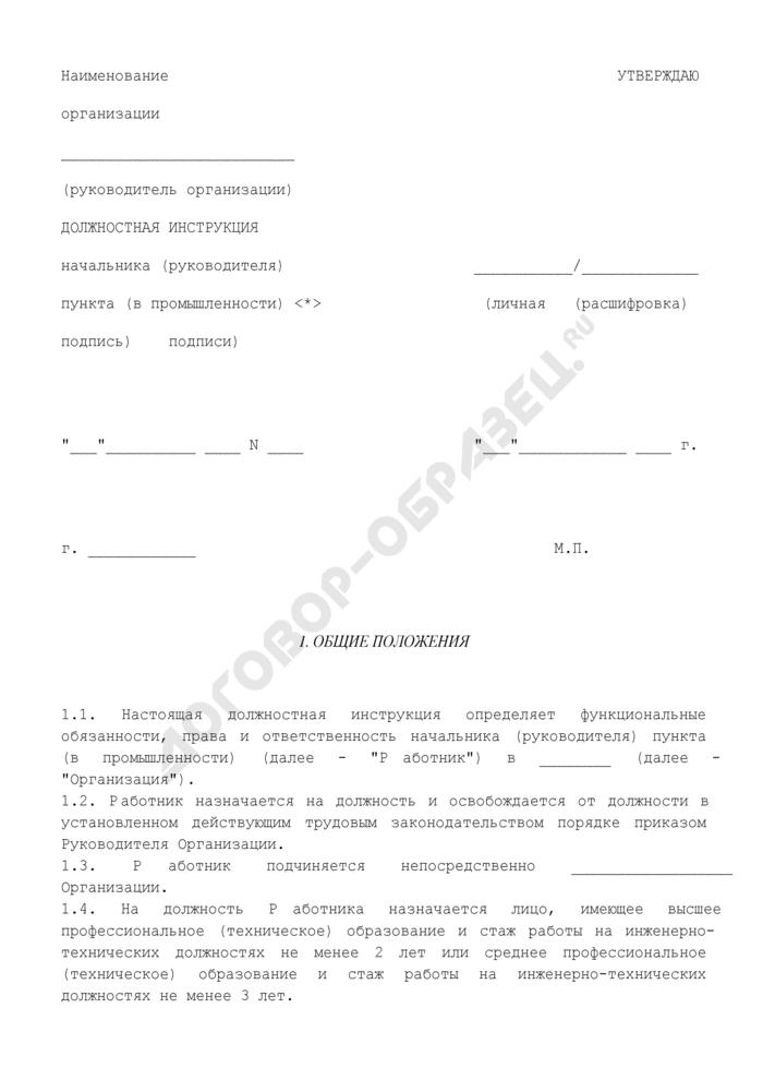 Должностная инструкция начальника (руководителя) пункта (в промышленности). Страница 1