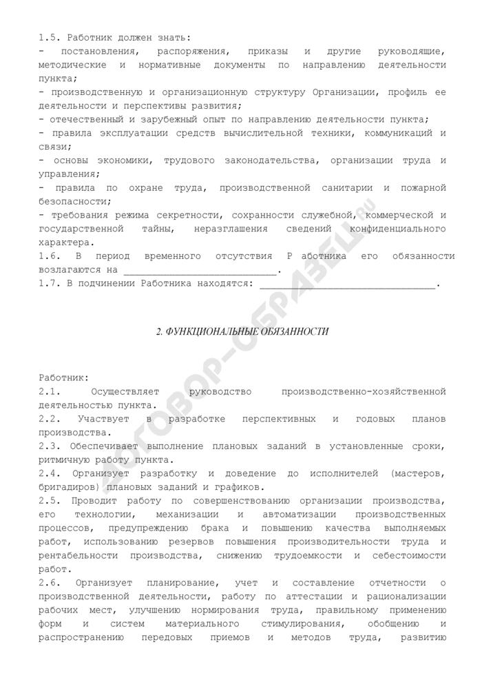 Должностная инструкция начальника (руководителя) пункта (в промышленности). Страница 2