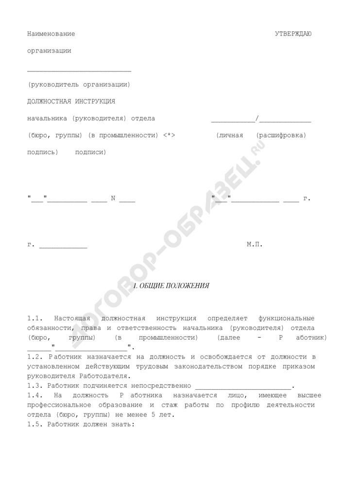 Должностная инструкция начальника (руководителя) отдела (бюро, группы) (в промышленности). Страница 1