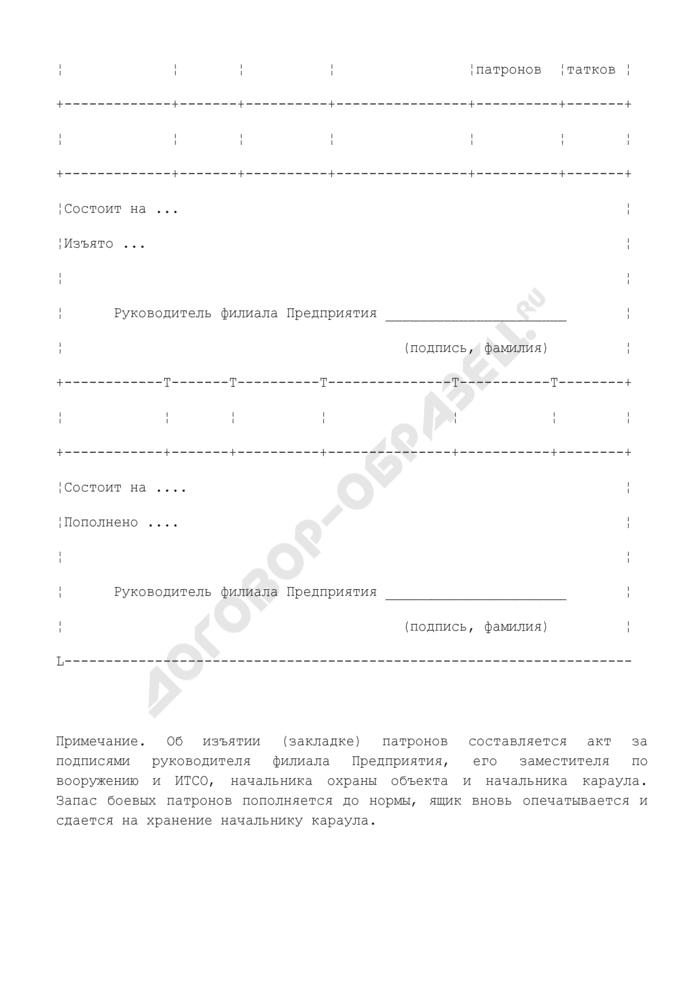 Книга учета запаса боевых патронов караула ведомственной охраны. Страница 2