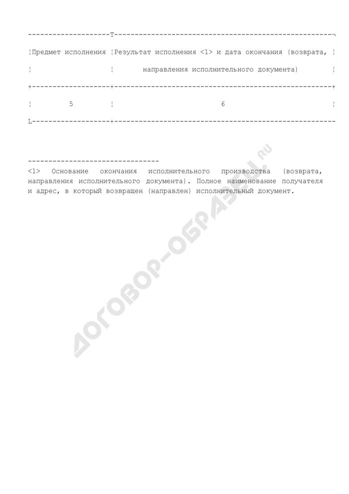 Зональная книга учета исполнительных производств судебного пристава-исполнителя. Страница 2