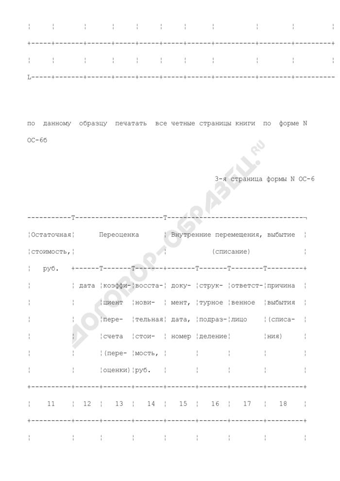 Инвентарная книга учета объектов основных средств. Унифицированная форма N ОС-6Б. Страница 3