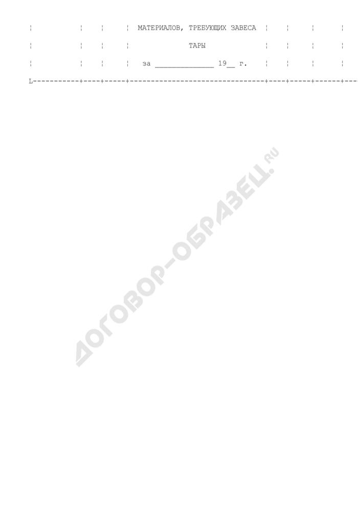 Книга регистрации товаров, материалов, требующих завеса тары. Специализированная форма N 6-ОН. Страница 2