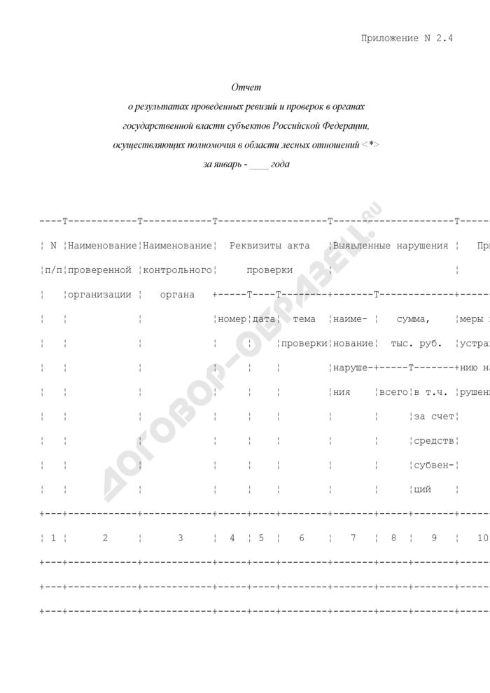Отчет Департамента лесного хозяйства. Отчет о результатах проведенных ревизий и проверок в органах государственной власти субъектов Российской Федерации, осуществляющих полномочия в области лесных отношений. Форма N 2.4. Страница 1