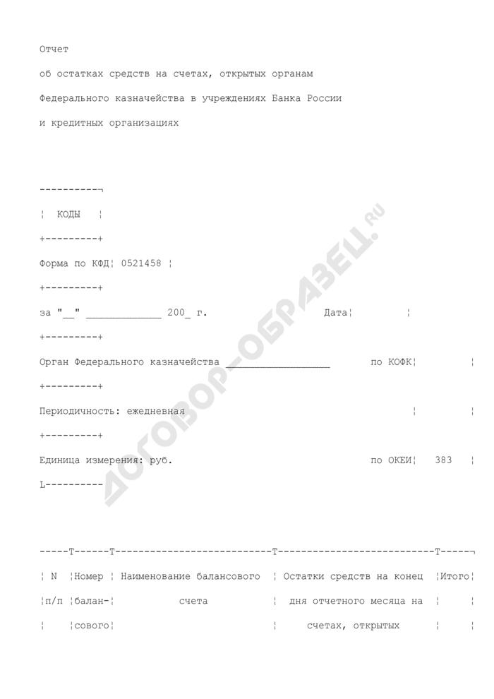 Отчет об остатках средств на счетах, открытых органам Федерального казначейства в учреждениях Банка России и кредитных организациях. Страница 1