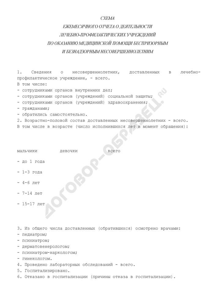 Схема ежемесячного отчета о деятельности лечебно-профилактических учреждений по оказанию медицинской помощи беспризорным и безнадзорным несовершеннолетним. Страница 1