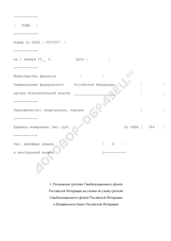 Отчет о размещении средств Стабилизационного фонда Российской Федерации. Страница 1