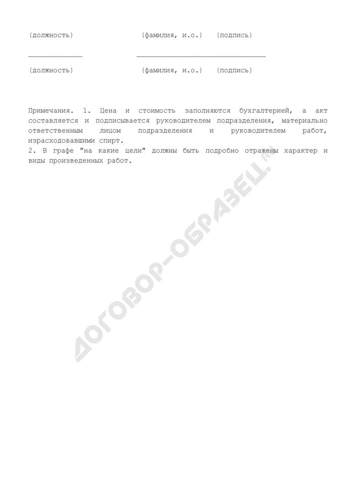 Акт-отчет о полученном и израсходованном спирте. Страница 3