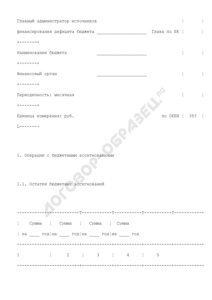 Отчет о состоянии лицевого счета администратора источников финансирования дефицита бюджета (для отражения операций). Страница 2