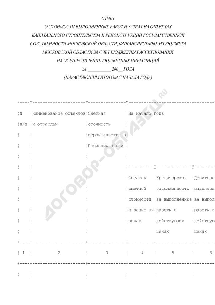 Отчет о стоимости выполненных работ и затрат на объектах капитального строительства и реконструкции государственной собственности Московской области, финансируемых из бюджета Московской области за счет бюджетных ассигнований на осуществление бюджетных инвестиций. Страница 1