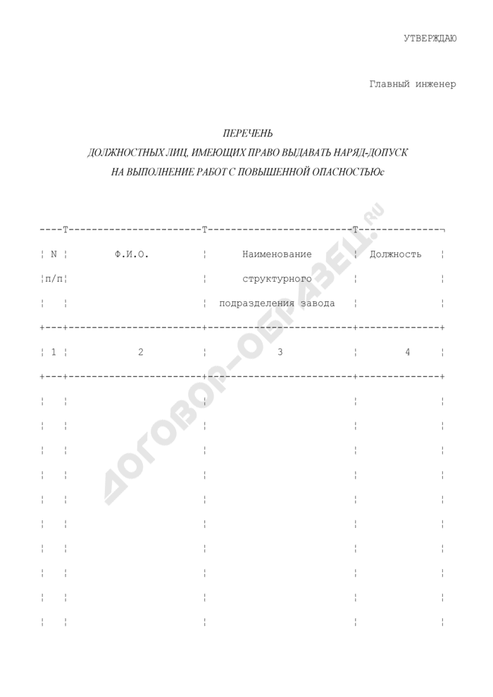 Перечень должностных лиц, имеющих право выдавать наряд-допуск на выполнение работ с повышенной опасностью. Страница 1