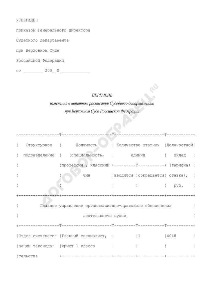 Перечень изменений в штатном расписании Судебного департамента при Верховном Суде Российской Федерации. Страница 1