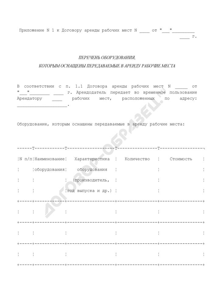 Перечень оборудования, которым оснащены передаваемые в аренду рабочие места. Страница 1