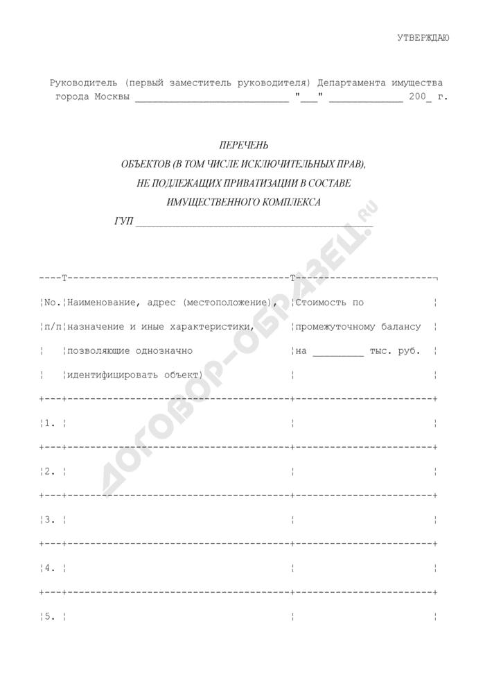 Перечень объектов (в том числе исключительных прав), не подлежащих приватизации в составе имущественного комплекса государственных унитарных предприятий. Страница 1